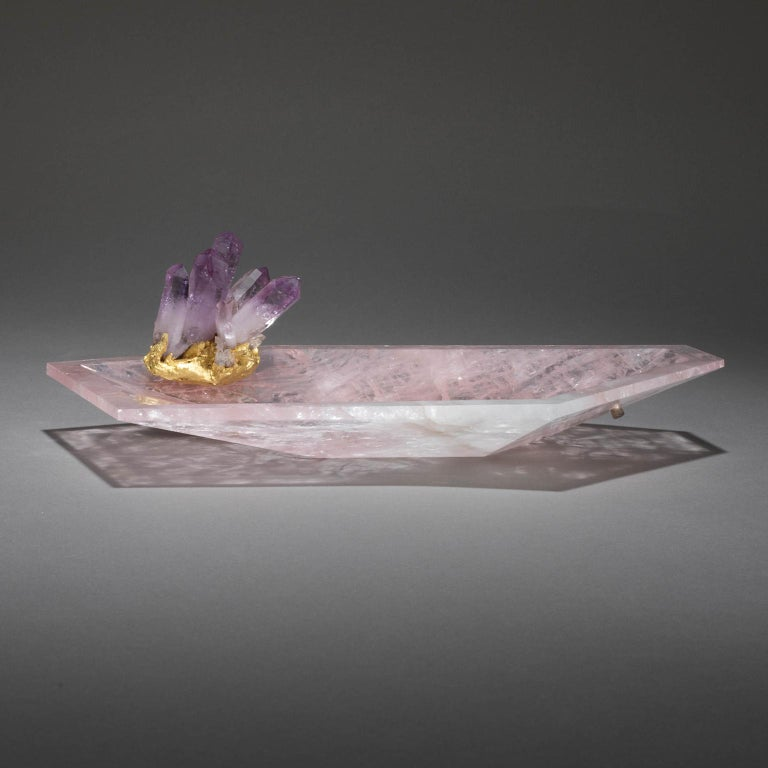CRYSTAL BLING BOWL 4  Studio Greytak's Crystal Bling Bowl 4 stretches slowly skyward, pulled toward a mysterious power. A prism of amethyst, the mineral world's most spiritually charged master, sits, butterfly-like, atop a single-cut rose quartz