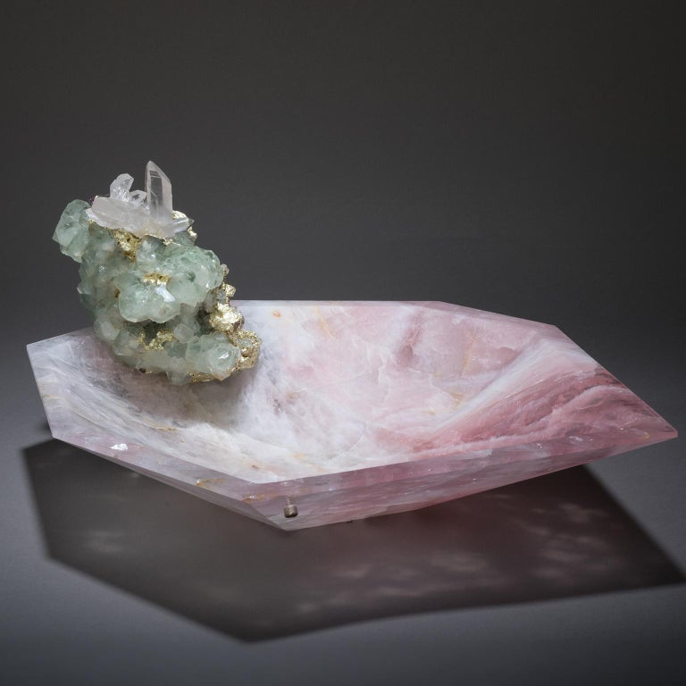 CRYSTAL  BLING  BOWL  9 Love  in  all  its  forms  blossoms  in  Studio  Greytak's  Crystal  Bling  Bowl  9.  A  single-cut  bowl  of  rose  quartz,  imbued  with  the  power  of  Aphrodite's  passion,  offers  a  tender  welcome.  Playful  fluorite