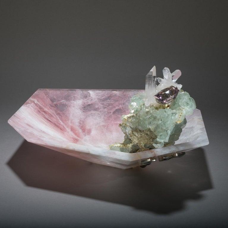 American Studio Greytak 'Crystal Bling Bowl 9' Hand Carved Rose Quartz With Amethyst Gem For Sale