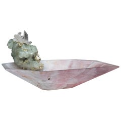 Studio Greytak 'Crystal Bling Bowl 9' Hand Carved Rose Quartz With Amethyst Gem
