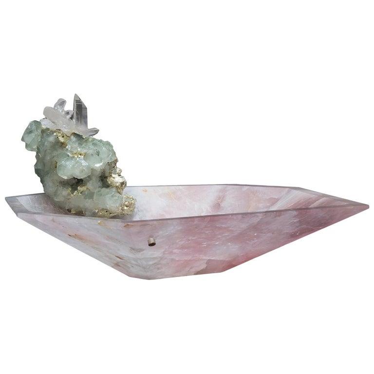 Studio Greytak 'Crystal Bling Bowl 9' Hand Carved Rose Quartz With Amethyst Gem For Sale
