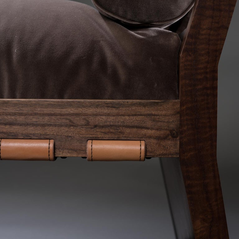 Polished Studio Greytak 'Daybed' with Claro Walnut, Brazilian Agate, Bronze and Leather For Sale