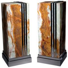 Studio Greytak 'Desert Deco Glo Table' Floor Lamp/Table Onyx and Stainless Steel