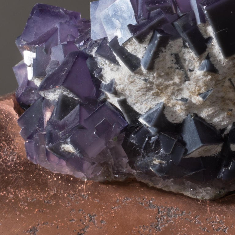 Studio Greytak 'Fluorite on Copper Base' Purple Fluorite and Solid Copper For Sale 4
