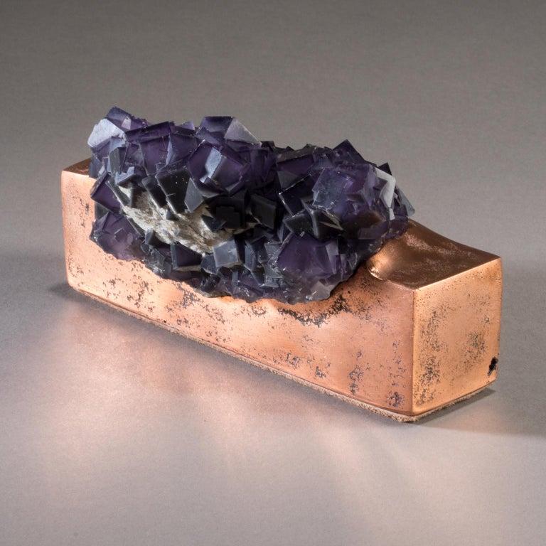 Modern Studio Greytak 'Fluorite on Copper Base' Purple Fluorite and Solid Copper For Sale