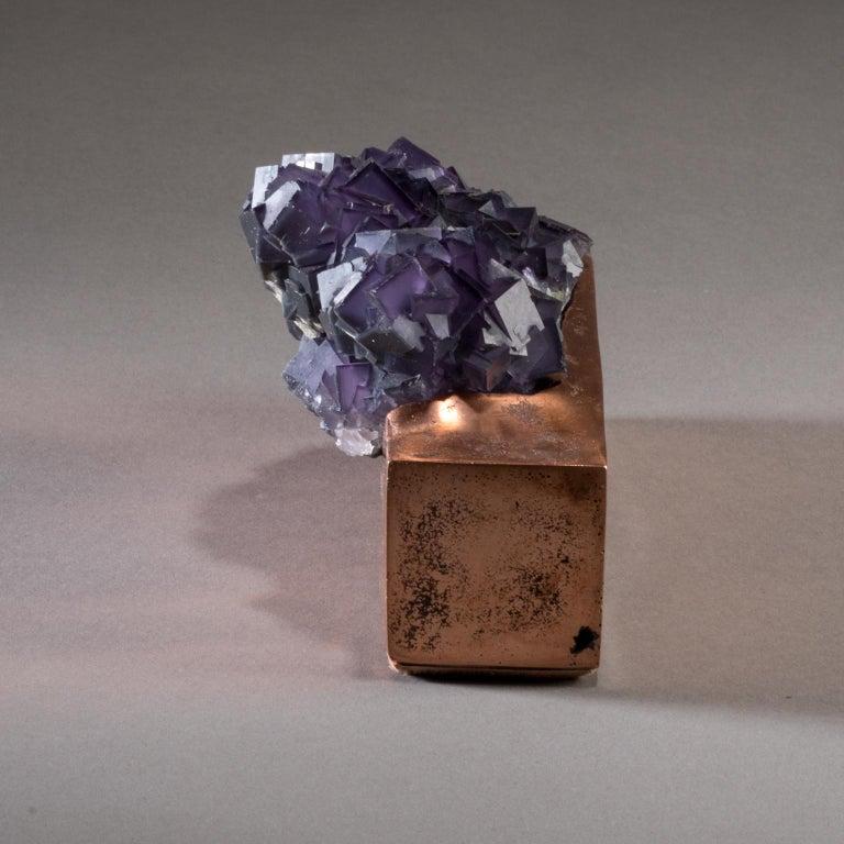 American Studio Greytak 'Fluorite on Copper Base' Purple Fluorite and Solid Copper For Sale