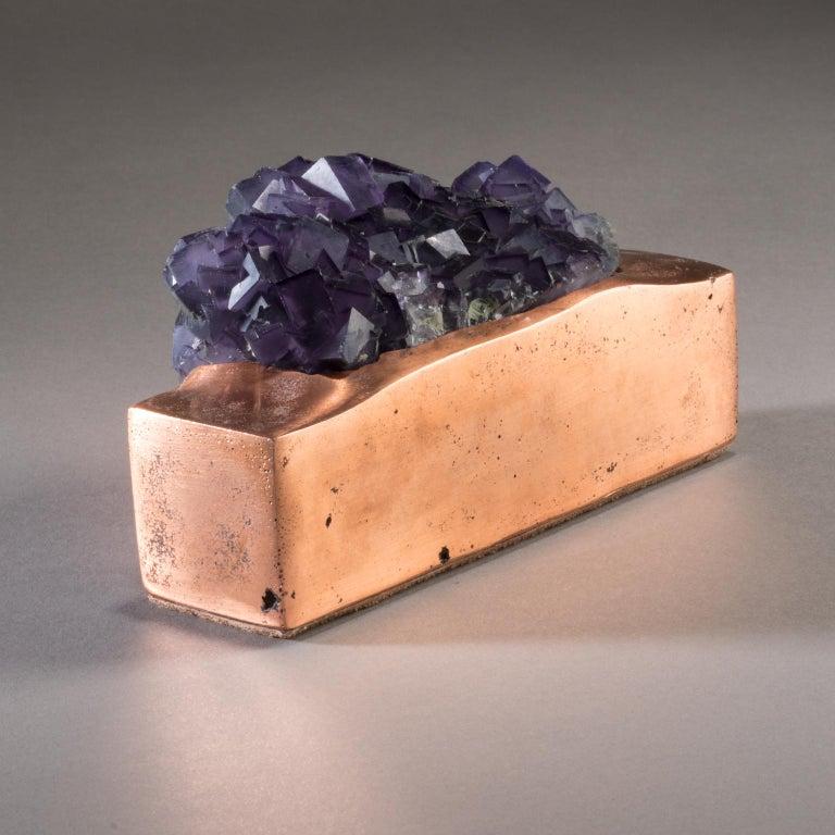 Studio Greytak 'Fluorite on Copper Base' Purple Fluorite and Solid Copper In New Condition For Sale In Missoula, MT