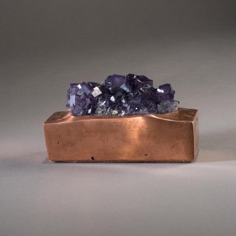 Contemporary Studio Greytak 'Fluorite on Copper Base' Purple Fluorite and Solid Copper For Sale