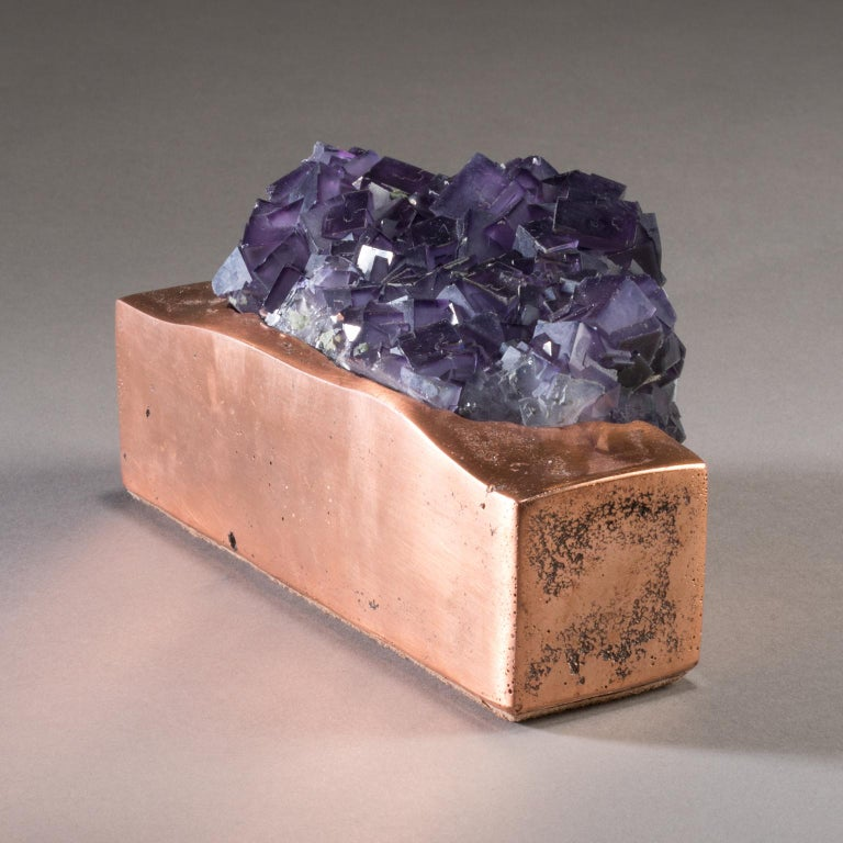 Studio Greytak 'Fluorite on Copper Base' Purple Fluorite and Solid Copper For Sale 1