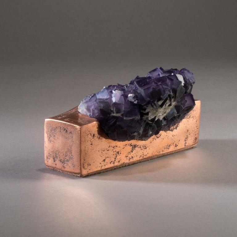Studio Greytak 'Fluorite on Copper Base' Purple Fluorite and Solid Copper For Sale 2