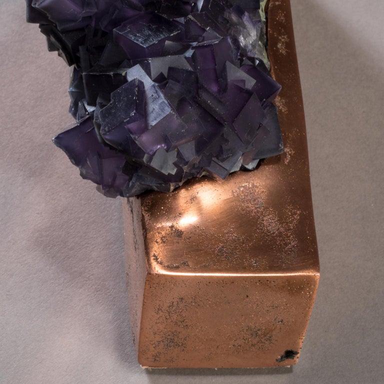 Studio Greytak 'Fluorite on Copper Base' Purple Fluorite and Solid Copper For Sale 3