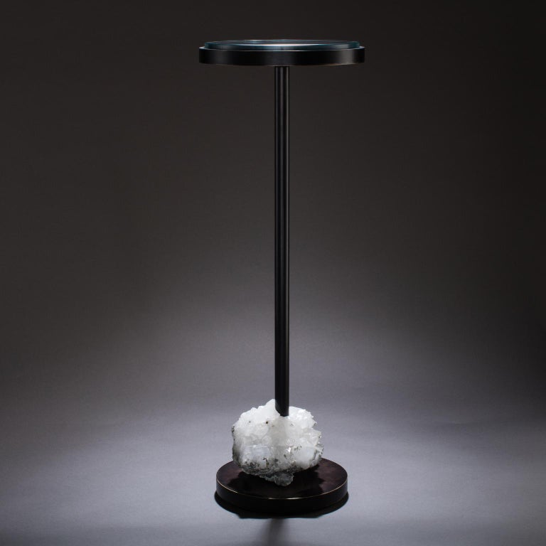 Modern Studio Greytak 'Havana Table 5' Quartz, Mica, and Oil Rubbed Bronze For Sale