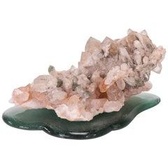 Studio Greytak 'Himalayan Quartz on Cast Glass' Pink Quartz and Green Cast Glass