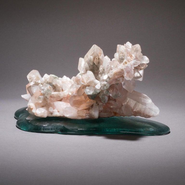 Studio Greytak 'Himalayan Quartz on Cast Glass' Pink Quartz and Green Cast Glass For Sale 4