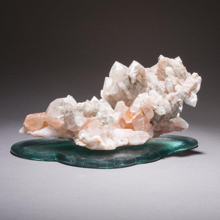 American Studio Greytak 'Himalayan Quartz on Cast Glass' Pink Quartz and Green Cast Glass For Sale