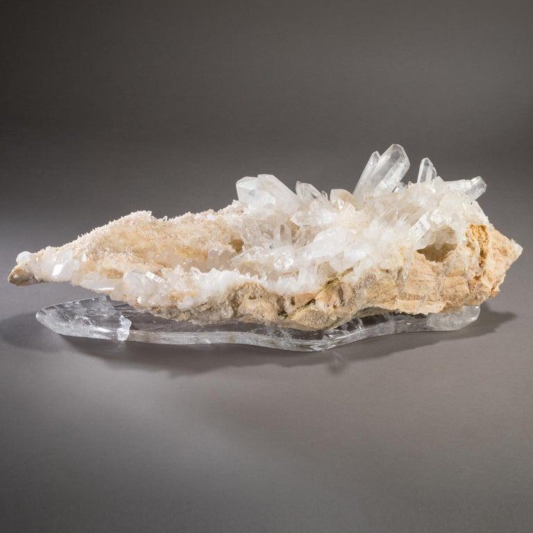Contemporary Studio Greytak 'Himalayan Quartz on Crystal Base' Meru Peak Clear Quartz For Sale