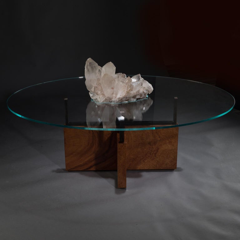 American Studio Greytak 'Iceberg Table 6' Himalayan Quartz, Solid Bronze, Monkey Pod Wood For Sale
