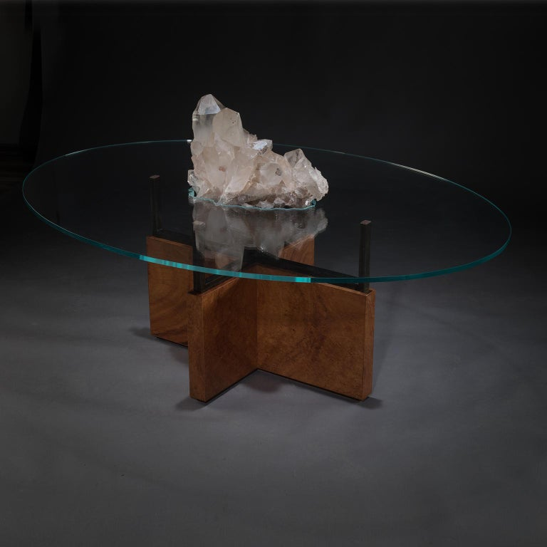 Contemporary Studio Greytak 'Iceberg Table 6' Himalayan Quartz, Solid Bronze, Monkey Pod Wood For Sale