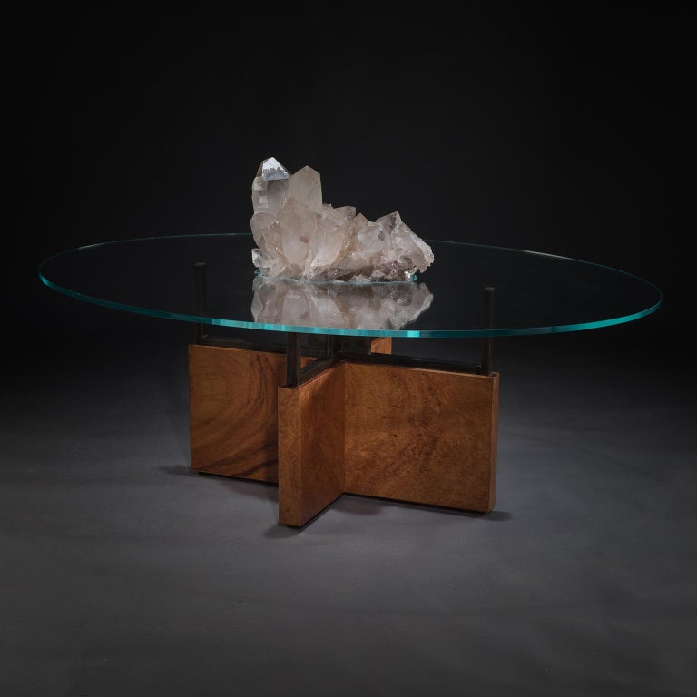 Studio Greytak 'Iceberg Table 6' Himalayan Quartz, Solid Bronze, Monkey Pod Wood For Sale 1