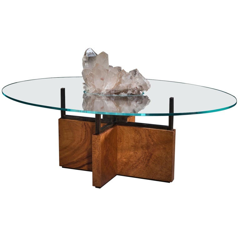 Studio Greytak 'Iceberg Table 6' Himalayan Quartz, Solid Bronze, Monkey Pod Wood For Sale