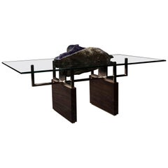 Studio Greytak 'Iceberg Table 1' with Amethyst, Polished Bronze, and Burl Walnut