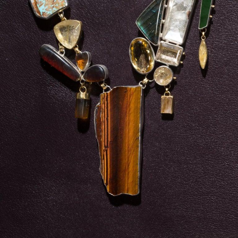 Modern Studio Greytak 'Jade Tiger Necklace' Tigers Eye, Jade, Amber, Opal, & 14kt Gold For Sale