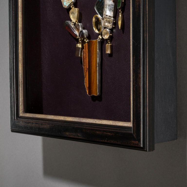 American Studio Greytak 'Jade Tiger Necklace' Tigers Eye, Jade, Amber, Opal, & 14kt Gold For Sale