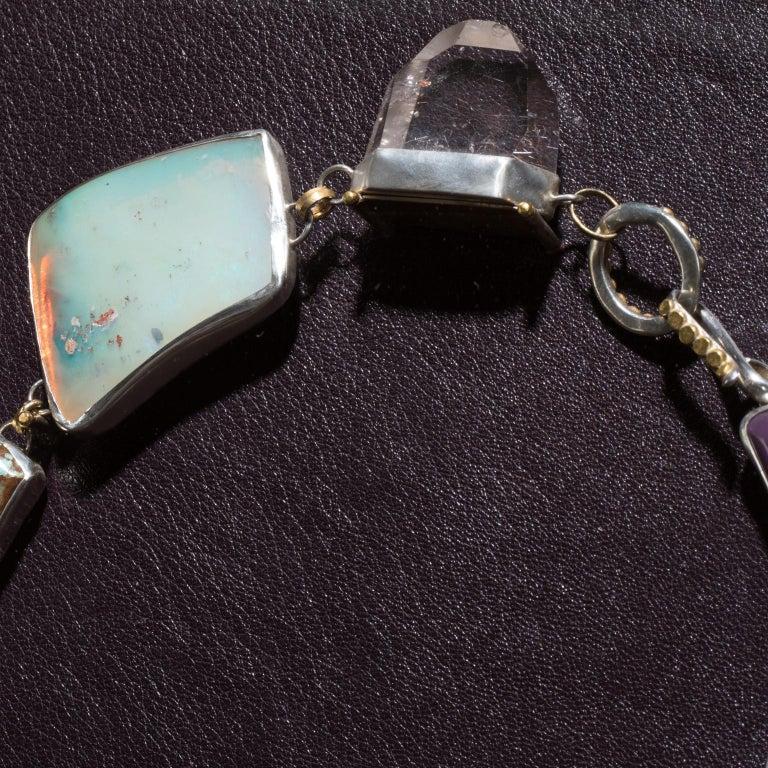 Contemporary Studio Greytak 'Jade Tiger Necklace' Tigers Eye, Jade, Amber, Opal, & 14kt Gold For Sale