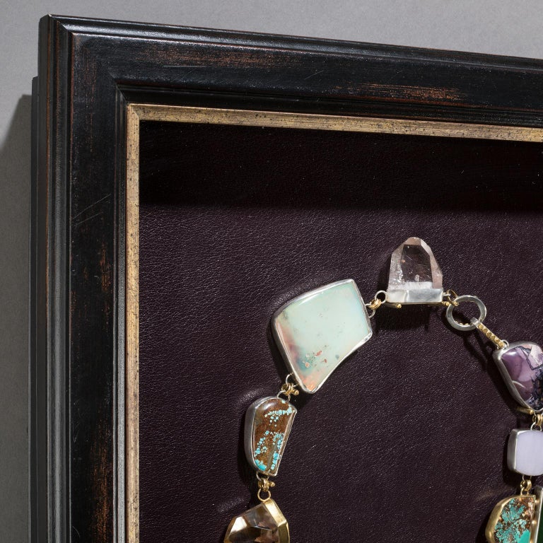 Agate Studio Greytak 'Jade Tiger Necklace' Tigers Eye, Jade, Amber, Opal, & 14kt Gold For Sale