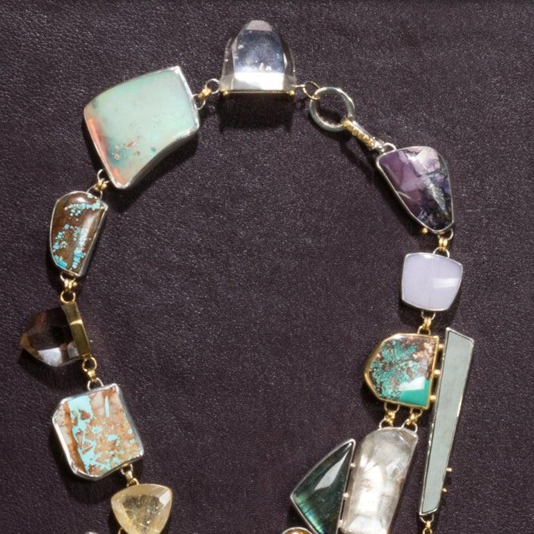 Studio Greytak 'Jade Tiger Necklace' Tigers Eye, Jade, Amber, Opal, & 14kt Gold For Sale 1