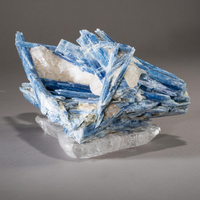 Kyanite with Quartz on crystal base