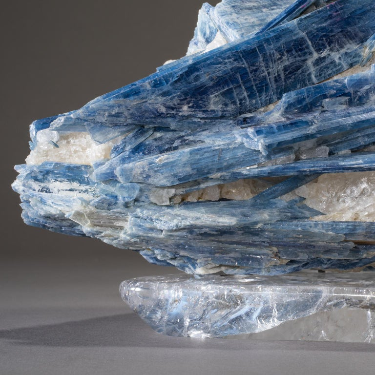 Studio Greytak 'Kyanite on Crystal Base' Blue Kyanite and Clear Quartz In New Condition For Sale In Missoula, MT