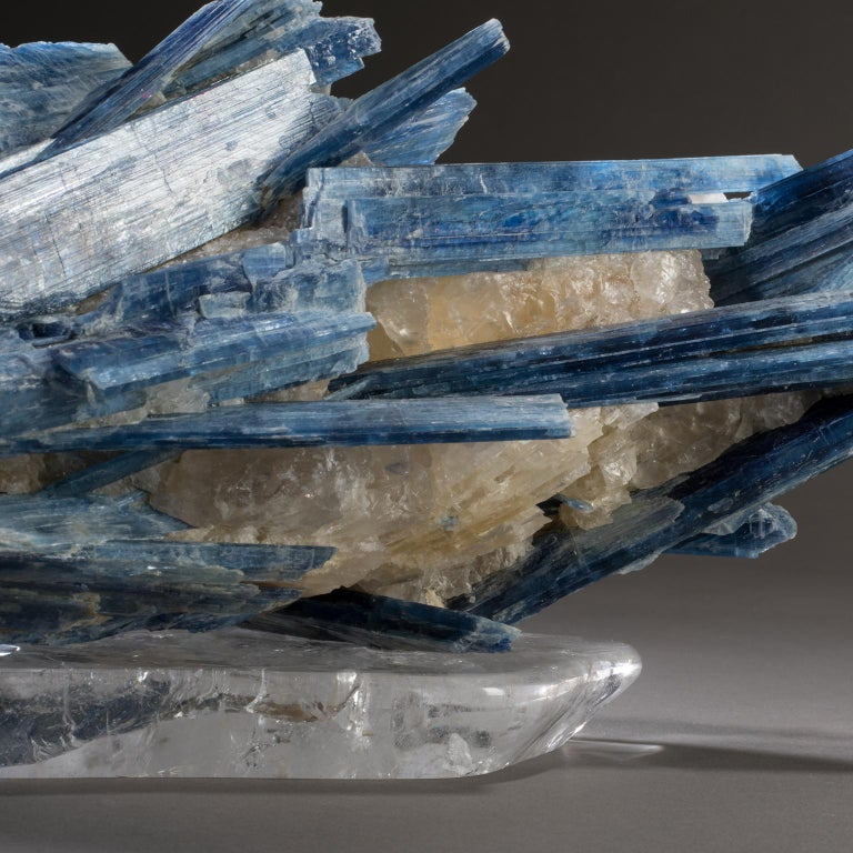 Studio Greytak 'Kyanite on Crystal Base' Blue Kyanite and Clear Quartz For Sale 1