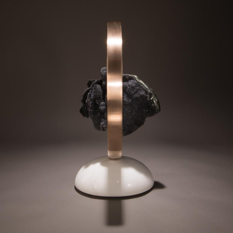 Modern Studio Greytak 'Loop' Moving Sculpture with Yule Marble, Bronze & Black Amethyst For Sale