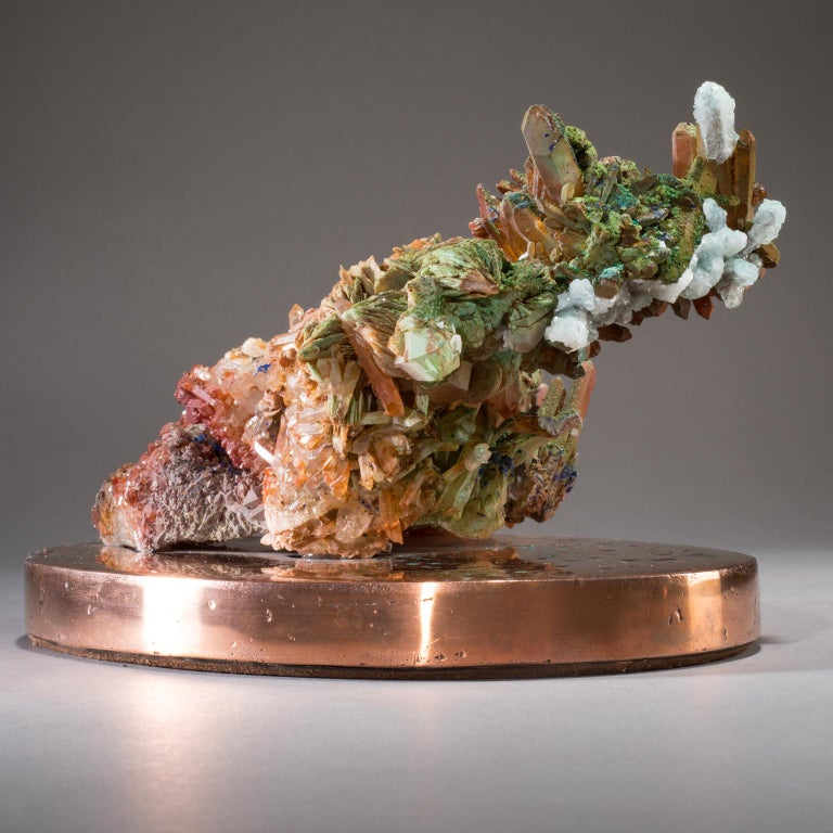 American Studio Greytak 'Malachite & Quartz on Copper Base' Red Quartz & Green Malachite For Sale