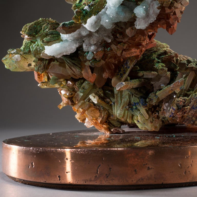 Contemporary Studio Greytak 'Malachite & Quartz on Copper Base' Red Quartz & Green Malachite For Sale