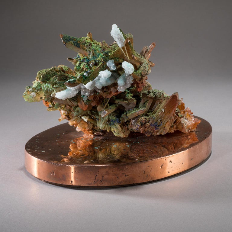 Studio Greytak 'Malachite & Quartz on Copper Base' Red Quartz & Green Malachite For Sale 2