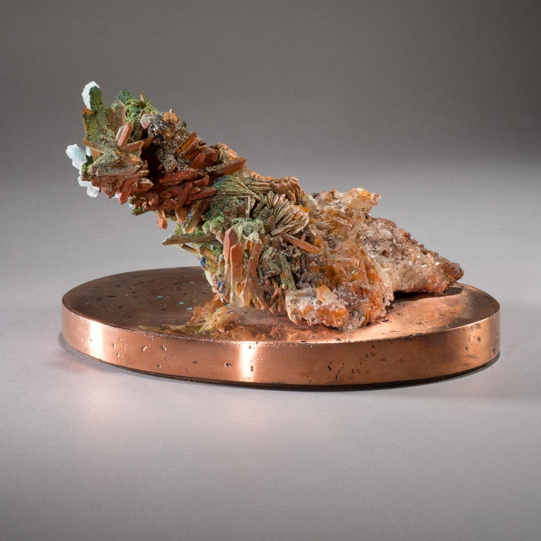 Studio Greytak 'Malachite & Quartz on Copper Base' Red Quartz & Green Malachite For Sale 3