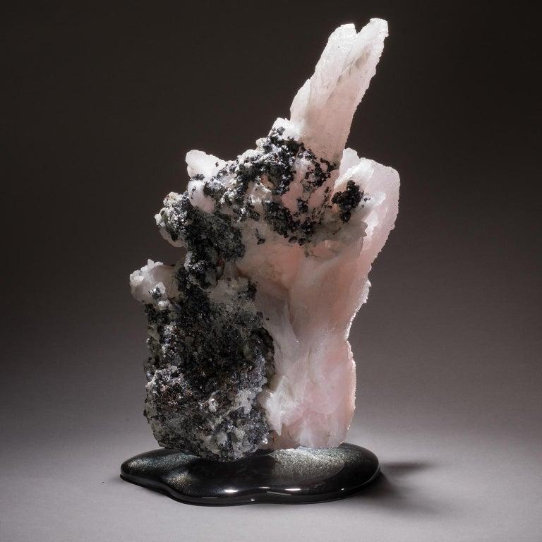 Studio Greytak 'Manganoan Calcite on Cast Glass' Pink Calcite on Black Glass For Sale 2