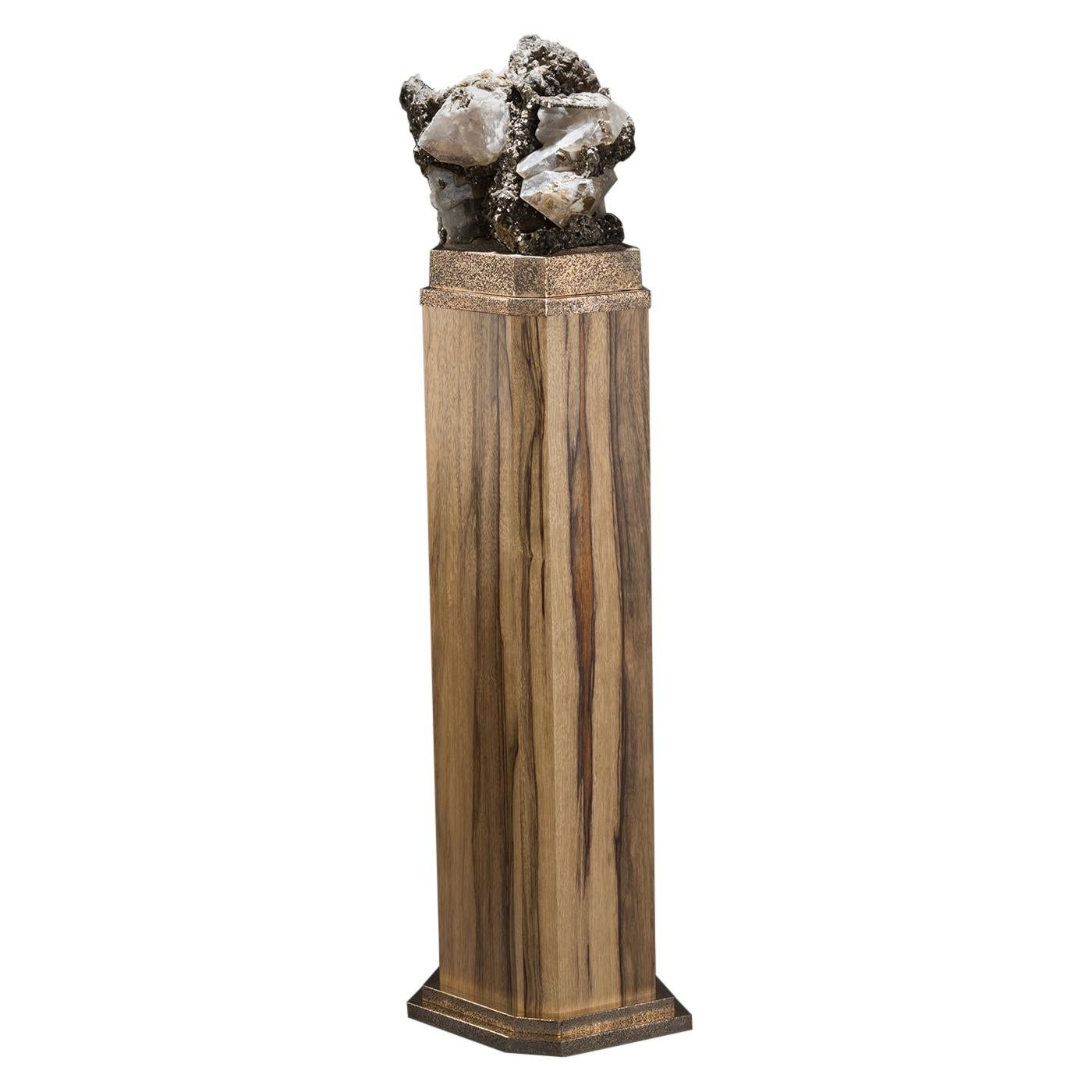Studio Greytak 'Mica on Black Limba with Bronze' Mica & Black Limba Pedestal Art