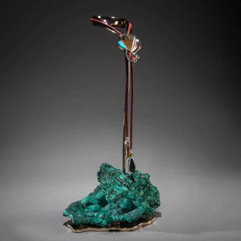 Contemporary Studio Greytak 'Montana Agate Bolo Tie on Malachite' Turquoise Lariat Necklace For Sale