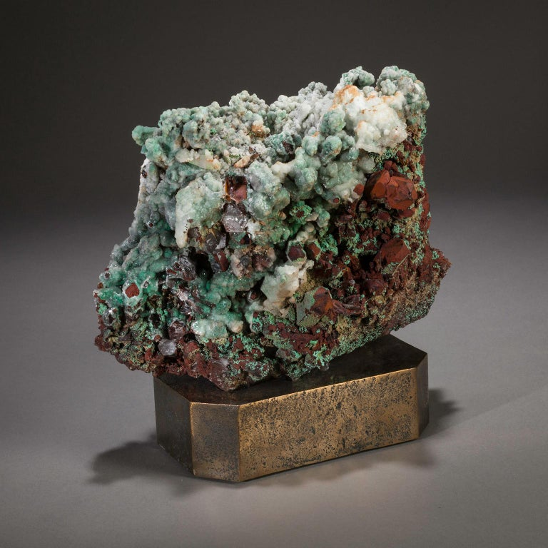Moroccan quartz on bronze base.  Some of the best minerals in the world are found in the North African Kingdom of Morocco. Geographically diverse, Morocco sits between the North Atlantic Ocean and the Mediterranean Sea and is known for both its