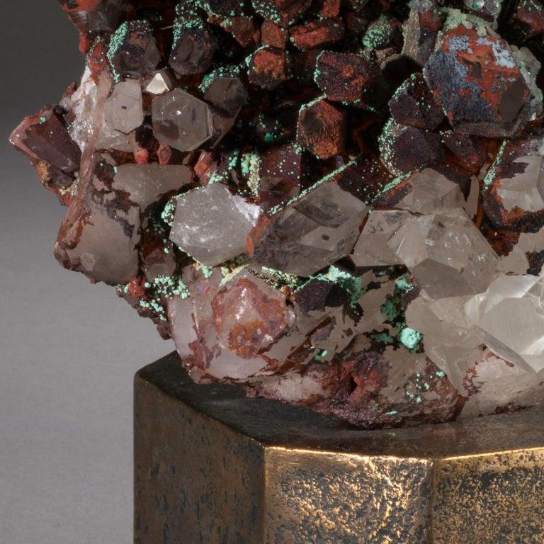 Modern Studio Greytak 'Moroccan Quartz on Bronze Base' Green, Red, and Clear Quartz For Sale