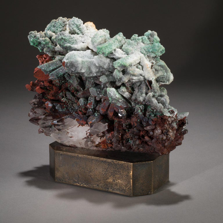 American Studio Greytak 'Moroccan Quartz on Bronze Base' Green, Red, and Clear Quartz For Sale