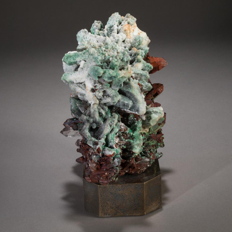 Studio Greytak 'Moroccan Quartz on Bronze Base' Green, Red, and Clear Quartz In New Condition For Sale In Missoula, MT
