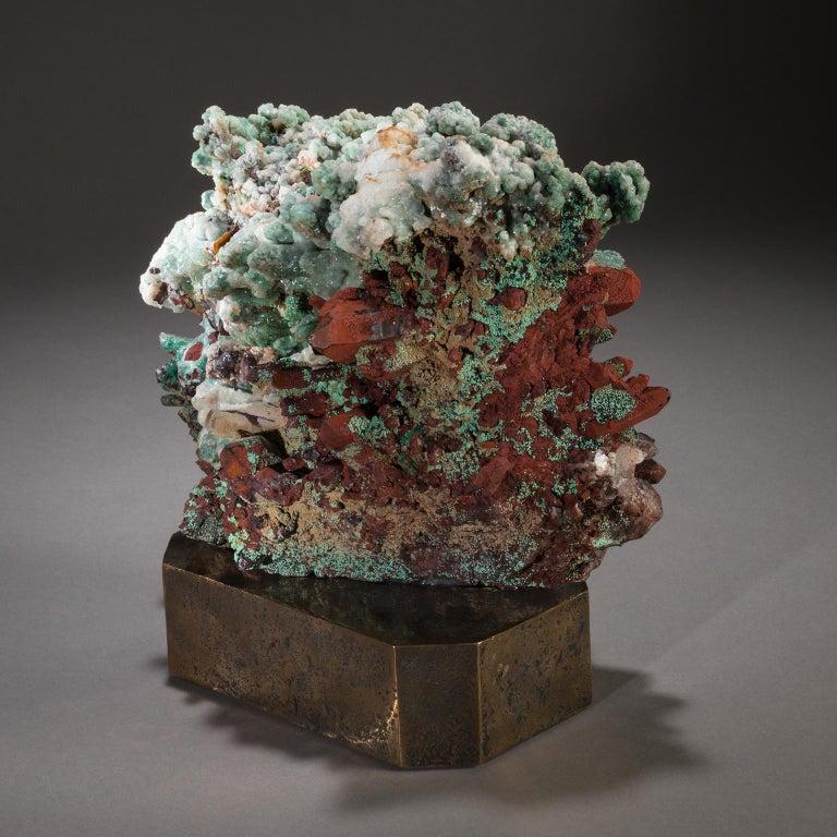 Contemporary Studio Greytak 'Moroccan Quartz on Bronze Base' Green, Red, and Clear Quartz For Sale