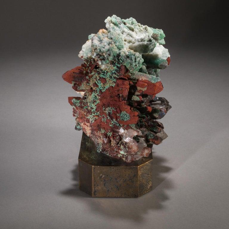 Studio Greytak 'Moroccan Quartz on Bronze Base' Green, Red, and Clear Quartz For Sale 1