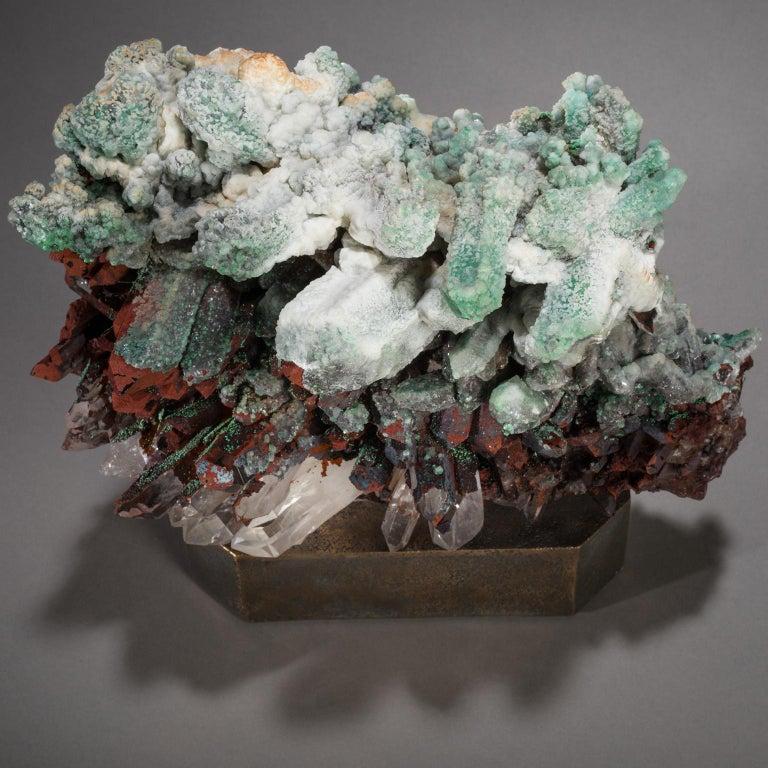 Studio Greytak 'Moroccan Quartz on Bronze Base' Green, Red, and Clear Quartz For Sale 2