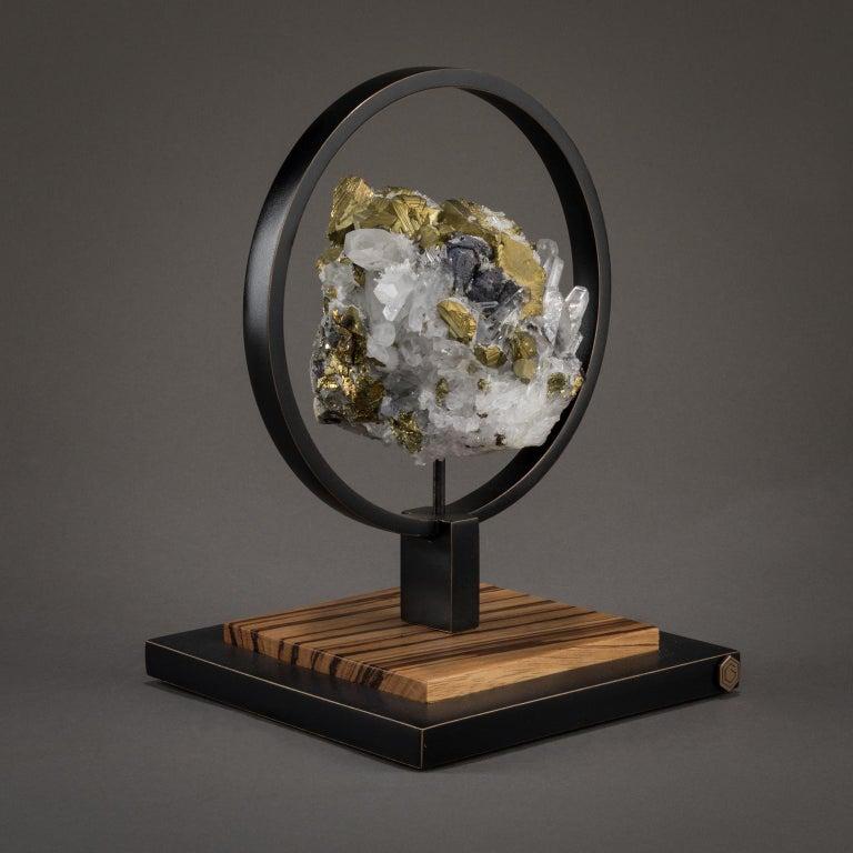 Modern Studio Greytak 'Ouroboros 11' Bronze, Quartz, Sphalerite, and Chalcopyrite For Sale