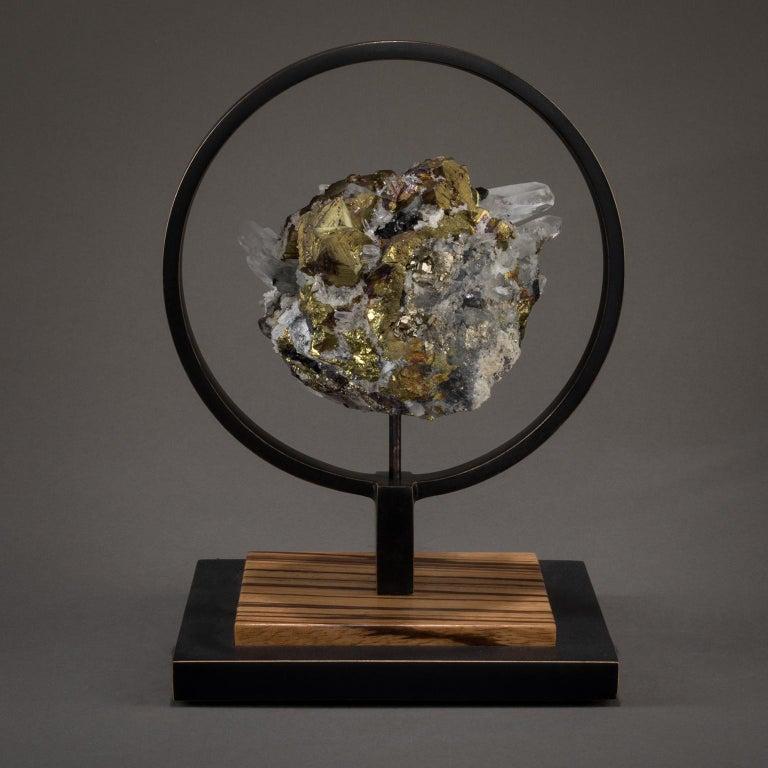 American Studio Greytak 'Ouroboros 11' Bronze, Quartz, Sphalerite, and Chalcopyrite For Sale